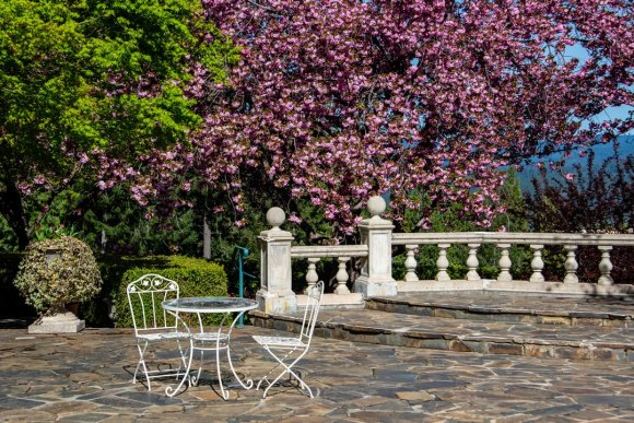 White metal table and two chairs, on paved patio with white fence, blooming cherry tree, and other greenery in background, taken at Crystal Hermitage.