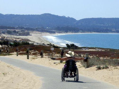 wheelchair, accessible, Monterey Bay, California, bike trail