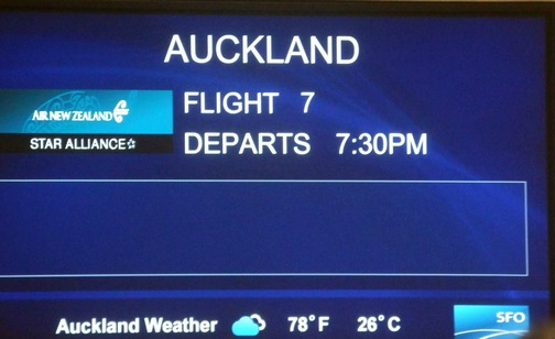 Ready for departure on Air New Zealand