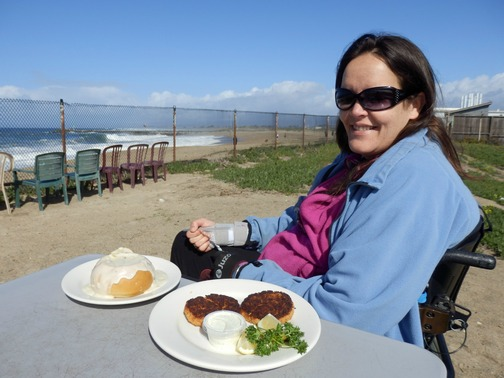 Moss Landing, Monterey County, California, Northern California, Phil's Fish Market and Eatery, outdoor patio, crab cakes, clam chowder, beach, wheelchair accessible, Images by RJM