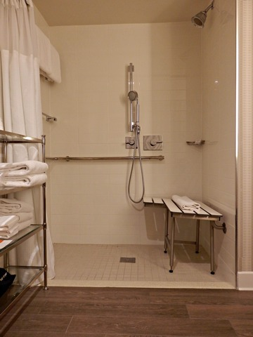 Beverly Garland Hotel, wheelchair accessible, roll-in shower
