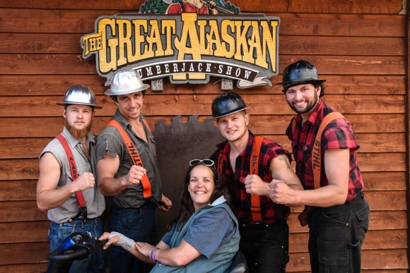 Lumberjacks, The Great Alaskan Lumberjack Show, Alaska, Alaskan Cruise, Celebrity Solstice, MS Foundation, wheelchair accessible, excursions, nature, adventure, education, wildlife, culture, highlights, Anything Is Possible Travel, Images by RJM