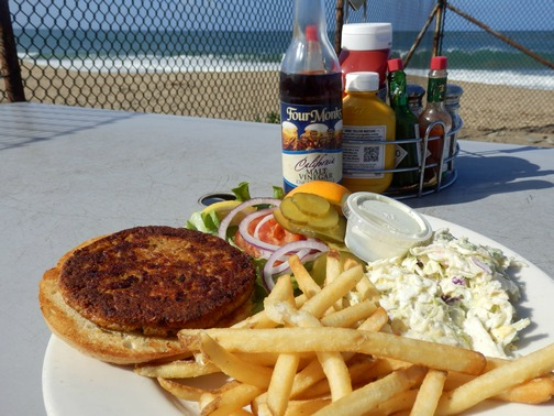 Moss Landing, Monterey County, California, Northern California, Phil's Fish Market and Eatery, outdoor patio, salmon burger, fries, coleslaw, lunch, wheelchair accessible, Images by RJM