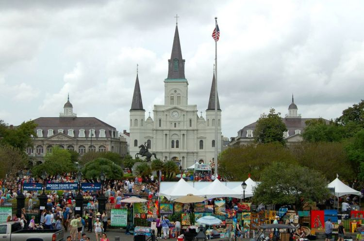Jackson Square, French Quarter Festival, music, food, April 2015, ©2015 ImagesByRJM