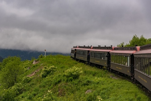 White Pass Scenic Railway train cars traveling through green ground cover, with grey clouds in the background.