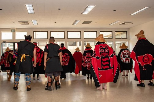 View of Southeast Alaska Native American traditional regalia, as worn by local dance group.
