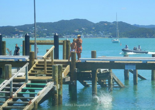 Summer fun on the pier at Russell, NZ