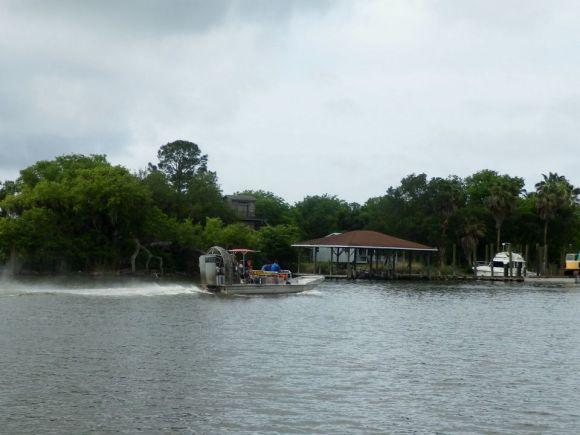 swamp tour, speeding boat, April 2015, ©2015 ImagesByRJM