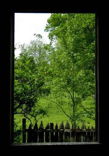 Inside the slave cabin, looking out