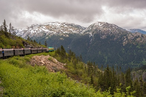 White Pass Scenic Railway train engine and many cars traveling along forested mountainside with snowy mountains in background.