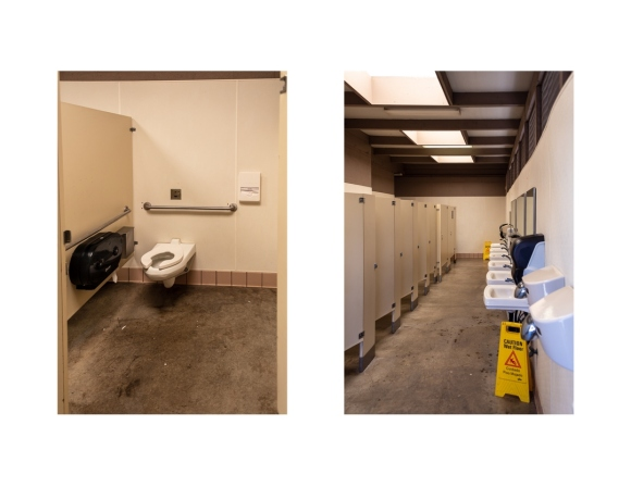 Pair of photos, the left one showing accessible restroom stall and the right one showing narrow aisle of stall doors with restroom sinks on opposite wall.