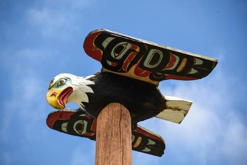 Saxman Village Totem Park, Ketchikan, Alaska, eagle, totem poles, First City, wheelchair accessible, Images by RJM