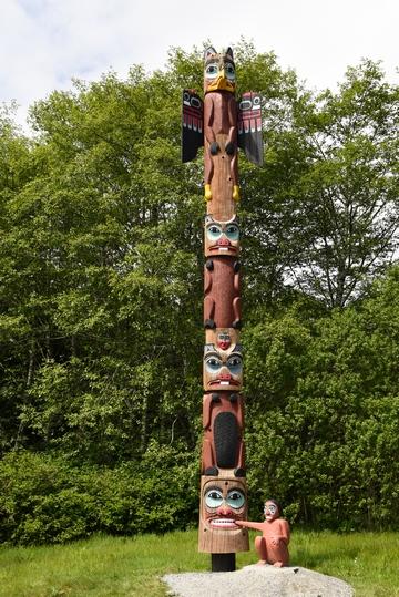 Saxman Village Totem Park - Totem pole eating man's hand