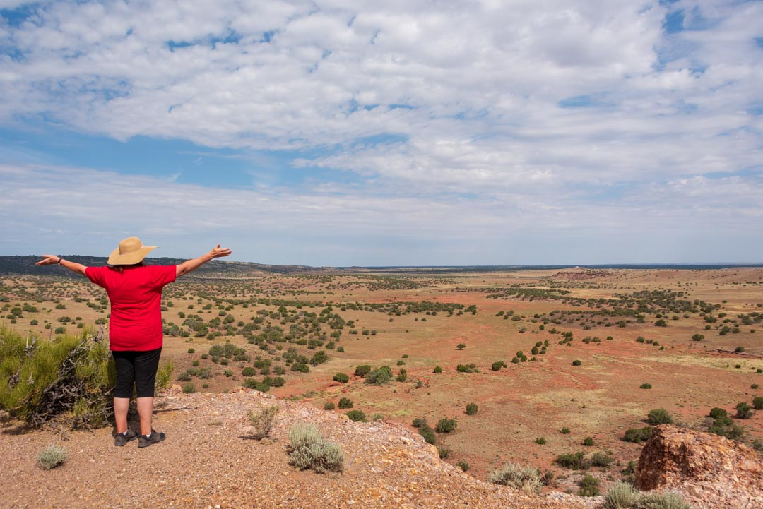 Woman, wearing red shirt and straw hat, standing with outstretched arms and facing Arizona desert vista.