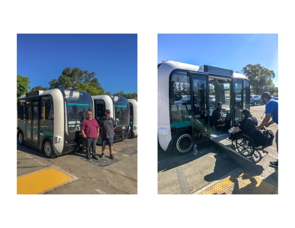Two photos, the one on the left showing two men standing outside of electric shuttle vehicles known as Olli, and the photo on the right showing an attendant pushing a woman in a wheelchair up a ramp and into the Olli.