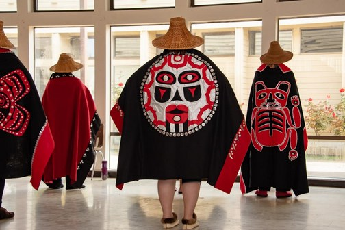Southeast Alaska Native American cultural regalia, displayed by dance group.