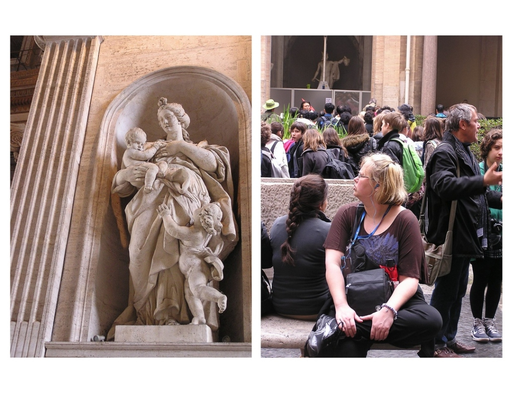 Two side-by-side images; on the left is a marble statue of a woman holding a baby, with a cherub at her feet reaching up. On the left is a seated woman listening to small headphones and looking at something to her right, with many tourists standing in the background at the Vatican Museum.