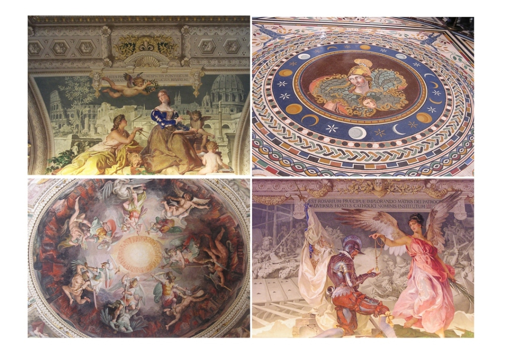 Four-square collage of art at Vatican Museum. Top left is mural of two seated women being attended to by winged cherubs. Top right is mosaic tile floor in concentric circles, with soldier in center and moon, stars and other patterns in outer circles. Bottom right is mural of kneeling soldier receiving gold necklace from angel; bottom left is round ceiling mural of many angels in battle with men.