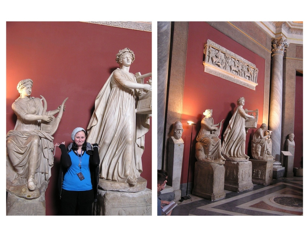 Two side-by-side images; on the left is a young smiling woman standing between two marble statues of women playing musical instruments. On the left is a view of those two statues, plus one more, taken from a few feet away. Both photos taken at the Vatican Museum.