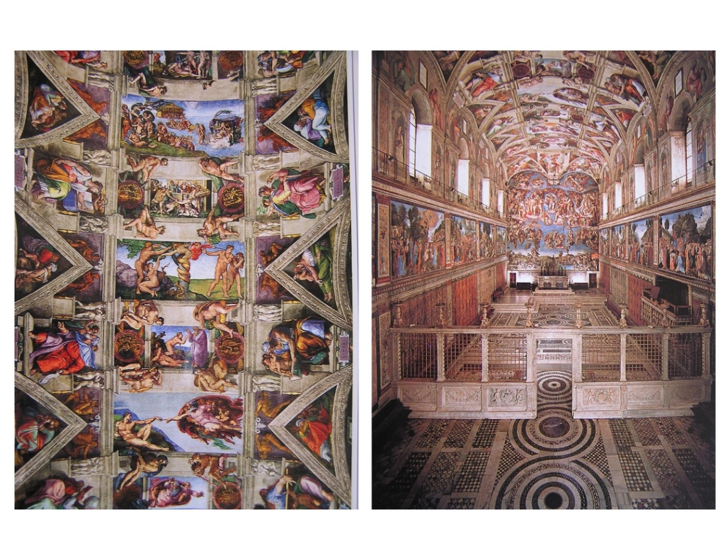 Side-by-side images of the interior of the Sistine Chapel, showing the colorful paintings of Michelangelo.