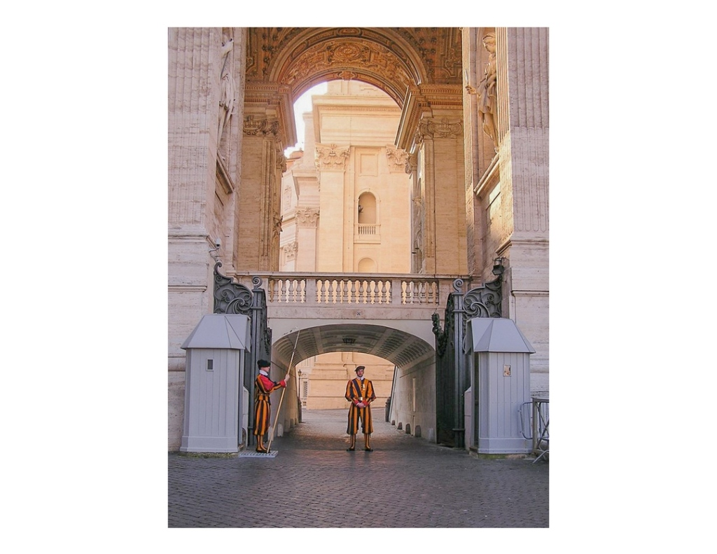 Swiss guards at entrance to Vatican City, Italy.