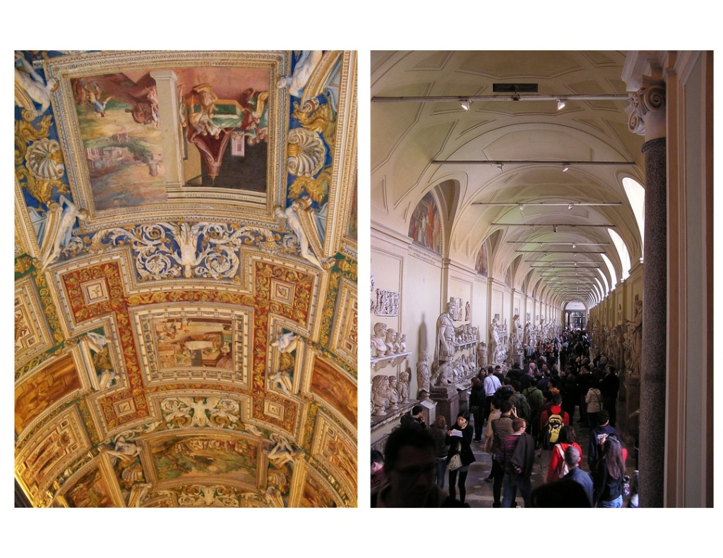 Two photos, side-by-side. On the left is an image of a curved ceiling in the Vatican Museum depicting smaller ornate paintings. On the right is a view down a crowded Vatican Museum hallway, with many marble statues and busts along each wall.