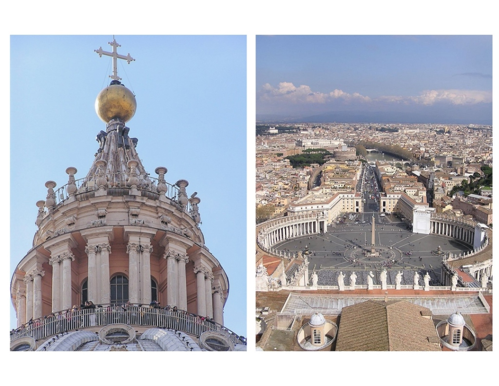 Two images, side-by-side. On the left is the exterior of the Dome of St. Peter's Basilica. On the right is a view of Piazza San Pietro and a portion of the city of Rome, as seen from the Dome of St. Peter's Basilica.