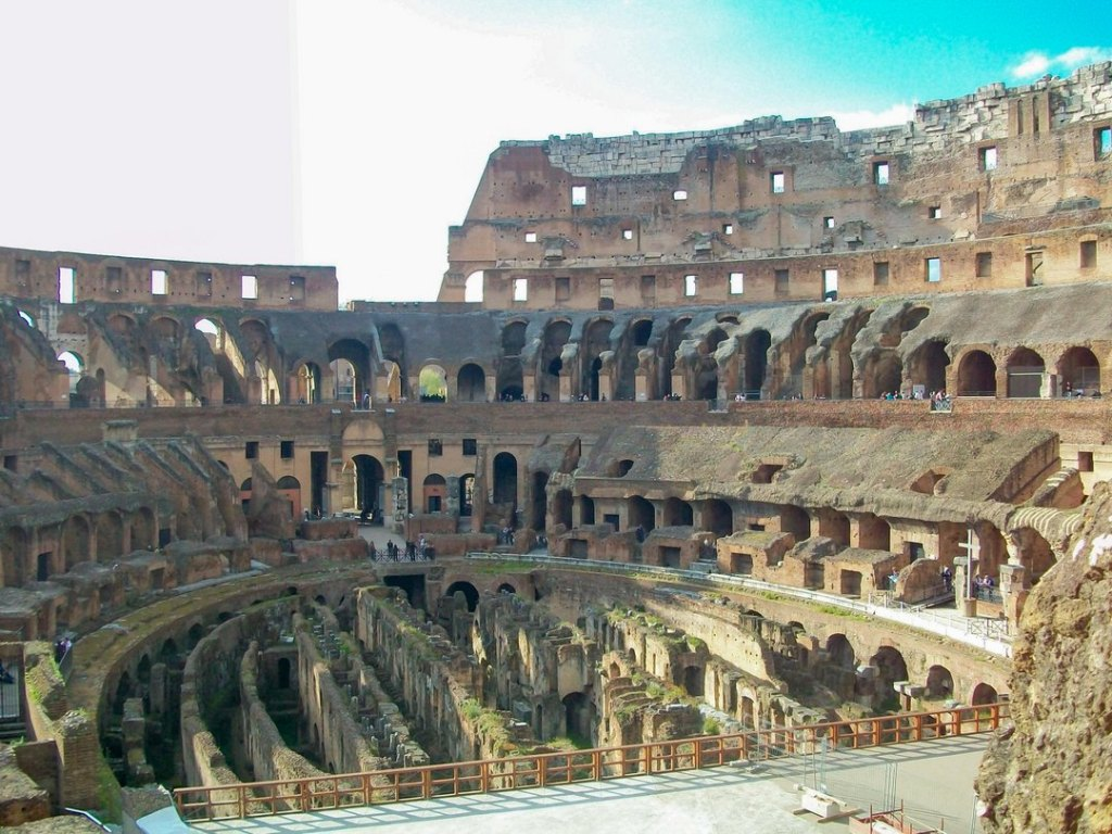 View of the interior walls and labyrinth-like floors of the Roman Colosseum.